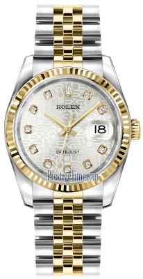 Rolex Datejust 36mm Stainless Steel and Yellow Gold 116233 Jubilee Silver Diamond Jubilee